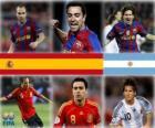 Nominados para el Balón de Oro de la FIFA 2010 (Andrés Iniesta, Xavi Hernández, Lionel Messi)