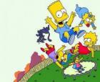 Los hermanos Simpson junto a sus amigos Milhouse y Nelson saltando en una cama elástica