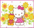 Hello Kitty tomando un refresco en el campo junto a su osito de peluche Tiny Chum