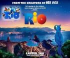 Cartel de la película Rio, con unas bellas vistas sobre la ciudad de Rio de Janeiro