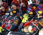 Mecánicos de Red Bull viendo la carrera