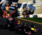 Sebastian Vettel celebra su victoria en el Gran Premio de Australia (2011)