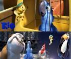 Blu junto a otros personajes de la película Rio