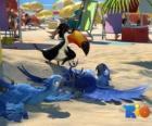 Película Rio con tres de sus protagonistas: los guacamayos Blu, Jewel y el tucano Rafael en la playa
