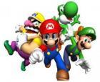 Wario, Mario, Yoshi y Luigi