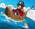 El Capitán Rockhopper y su mascota en su barca en el Club Penguin