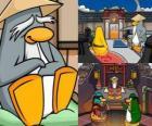 Sensei es un pingüino muy sabio que vive en el Dojo y les enseña a los pingüinos a ser ninjas