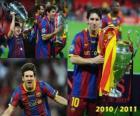 Leo Messi celebrando la Liga de Campeones 2010-2011