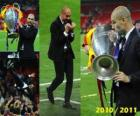Josep Guardiola celebrando la Liga de Campeones 2010-2011
