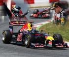 Sebastian Vettel celebra su victoria en el Gran Premio de España (2011)