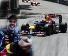 Sebastian Vettel celebra su victoria en el Gran Premio de Mónaco (2011)