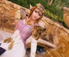 La bella Princesa Zelda con una rosa en la mano