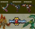 Skytalon en sus tres fases Skytalon Pup, Skytalon Scout y Skytalon Max, de Invizimals