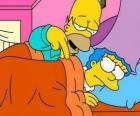 Homer y Marge en la cama