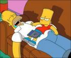 Bart sentado sobre la barriga de Homer