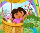 Dora la exploradora y su amigo el mono Botas en globo