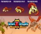 Firecracker Cub, Firecracker Scout, Firecracker Max. Invizimals La otra dimensión. Criaturas de fuego y ceniza que viven en el fondo de los volcanes