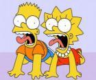 Bart y Lisa gritando