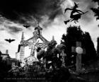 Cementerio en el día de Halloween
