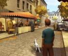 Tintín y su perro Milú paseando por la calle
