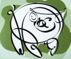 El cerdo, signo del Cerdo, el año del Cerdo en la astrología china. El último de los doce animales en el zodíaco chino