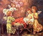 Varios ángeles con el niño Jesús