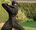 Guerrero ninja y la lucha con la katana
