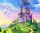 Mi pequeño pony volando junto a un castillo