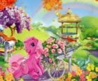 Mi pequeño pony rodeado de flores