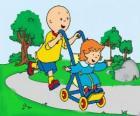 Caillou dando un paseo con su hermana pequeña en el cochecito