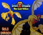 Gold Dragon. Invizimals Las Tribus Perdidas. Dragón de oro con cuatro alas que brilla más que el sol