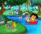 Dora y su amigo el mono Botas en un bote