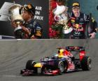 Sebastian Vettel celebra su victoria en el Gran Premio de Bahréin (2012)