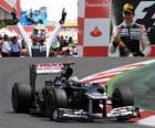 Pastor Maldonado celebra su victoria en el Gran Premio de España (2012)