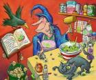 Bruja preparando la pócima mágica con extraños ingredientes