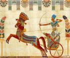 Guerrero egipcio y carruaje