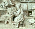 Monje copista trabajando con un cálamo de pluma y la tinta sobre un pergamino o papel en el scriptorium