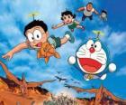 El gato Doraemon con sus amigos Nobita, Shizuka, Suneo y Takeshi