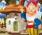 El sabio Orejotas, un duende barbudo que vive en una casa seta