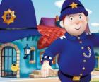 Señor Guardia es el policía de la Ciudad de los Juguetes, el País de los Juguetes
