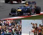 Mark Webber celebra su victoria en el Gran Premio de Inglaterra 2012