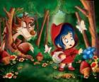 Caperucita Roja en el bosque con el lobo escondido entre los árboles