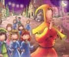 El Flautista de Hamelín misteriosamente con todos los niños del pueblo detras al son de la flauta