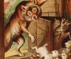 Los siete cabritillos están asustados y corren a esconderse cuando ven al lobo en la puerta