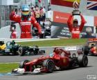 Fernando Alonso celebra su victoria en el Gran Premio de Alemania 2012