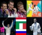 Podio Sable individual Masculino, Áron Szilágyi (Hungría), Diego Occhiuzzi (Italia) y Nikolái Kovalev (Rusia)  - Londres 2012 -