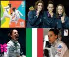 Podio Florete individual Femenino, Elisa Di Francisca (Italia), Arianna Errigo (Italia) y Valentina Vezzali (Italia) - Londres 2012 -