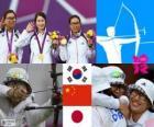 Podio Tiro con arco femenino por equipos, Corea del Sur, China y Japón - Londres 2012 -