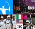 Podio Tiro con arco masculino por equipos, Italia, Estados Unidos y Corea del Sur - Londres 2012 -