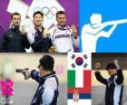 Podio Tiro deportivo, pistola de aire 10m hombres, Jin Jingoh (Corea del Sur), Luca Tesconi (Italia) y Andrija Zlatić (Serbia)